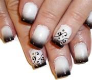 black tips swirls nail art design