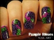 purple roses nail art