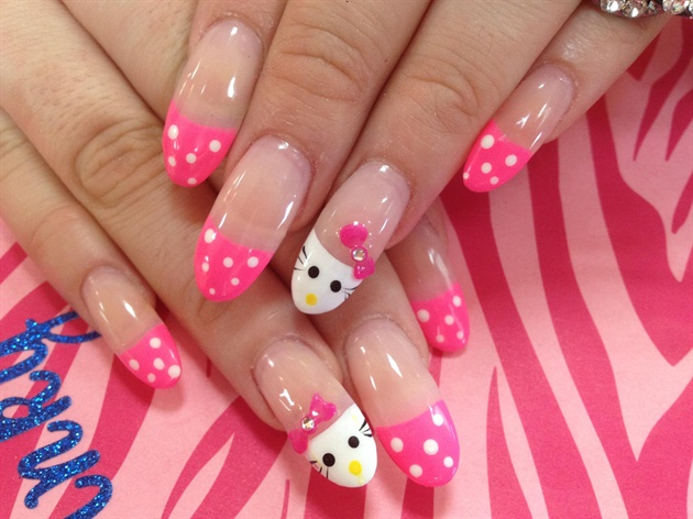 Cute O Kitty Nails W Pink Dot Tips