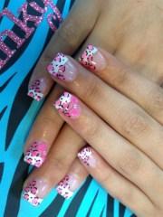 pink animal print tips