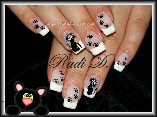 Black Cat Nails Gel Nail Art