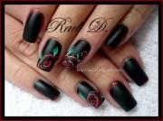 black matte & rose - nail art