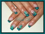 turquoise diagonal french - nail