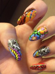 mix fabric nails - nail art