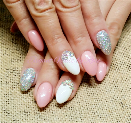Halo Glitter Pink And White Acrylic No Polish