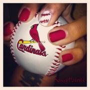 baseball accent - nail art