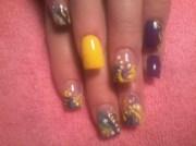 yellow and purple - nail art
