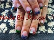 colorful zebra - nail art