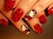 ladybug kitty - nail art