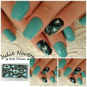 teal and brown hearts - nail art