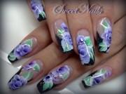 purple roses - nail art
