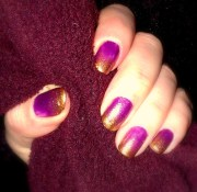 gradient purple and gold nail art