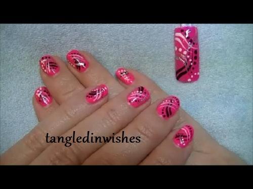 Pink Black Abstract Nail Art Design