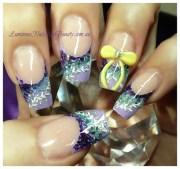 purple teal & yellow. - nail