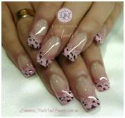 baby pink leopard print - nail