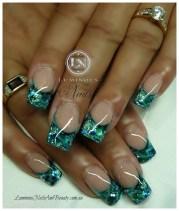 aqua & blue marbleized. - nail