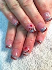 valentine glitter acrylic - nail