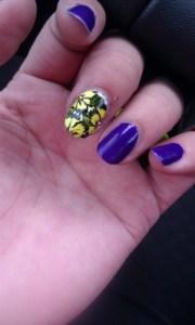 purple and yellow - nail art