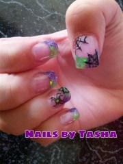 green purple halloween - nail art