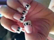 bows & rhinestones - nail art