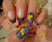 "nail art ""yellow and purple"