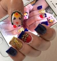 Wonder Woman themed Nails - Nail Art Gallery