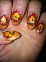 thanksgiving turkey - nail art
