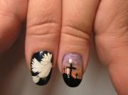 christ dove and cross - nail art
