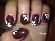 dark brown - floral nail art