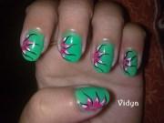 green - floral nail art