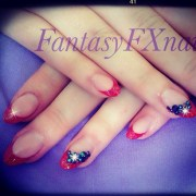 red and black bling - nail art