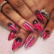 pink french black moon - nail