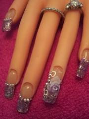 purple white rose - nail art