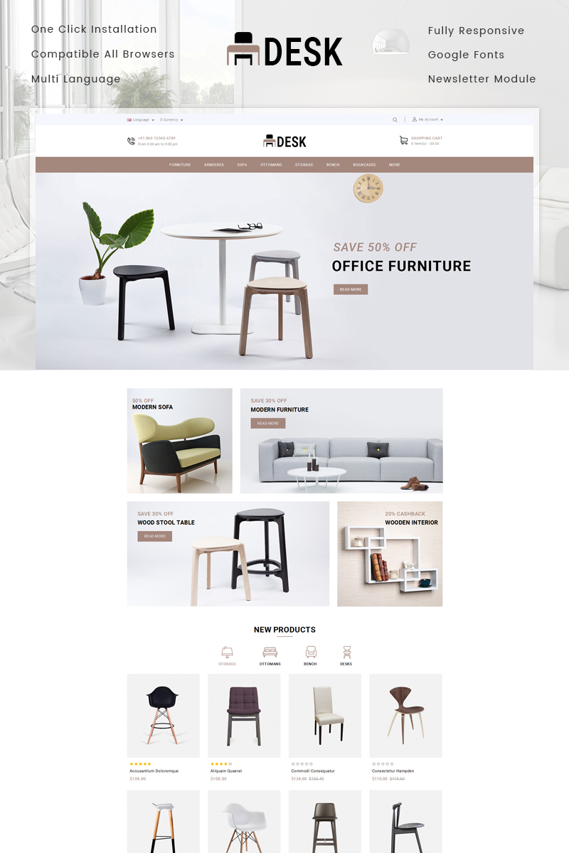 opencart vorlage namens desk furniture store grosser screenshot