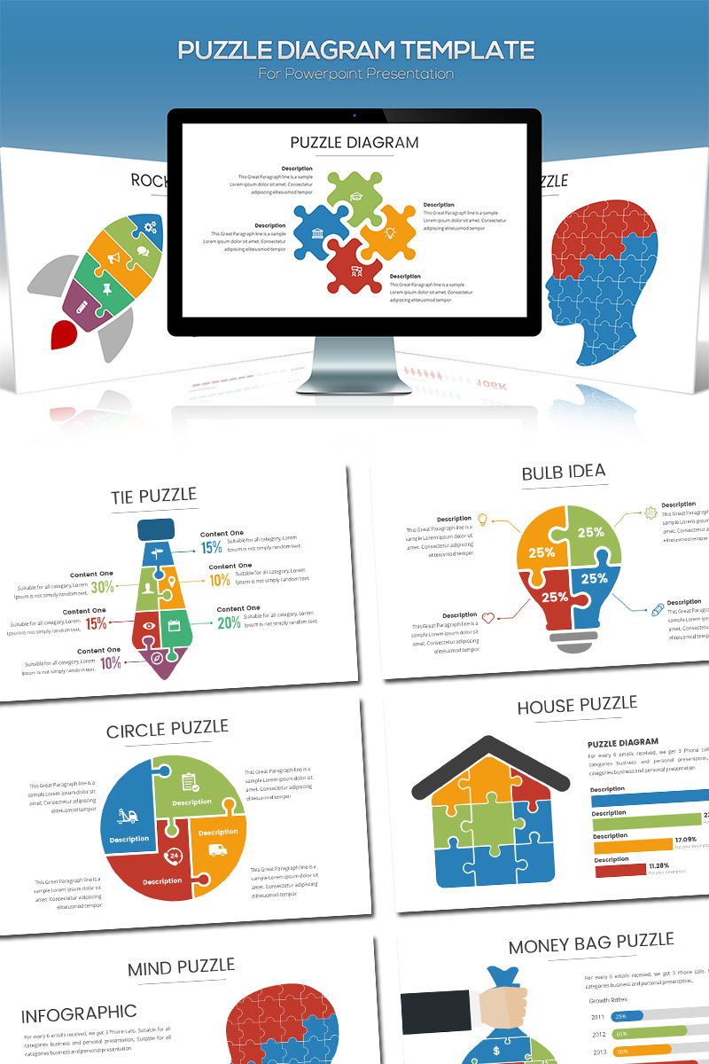 hight resolution of puzzle diagram powerpoint template