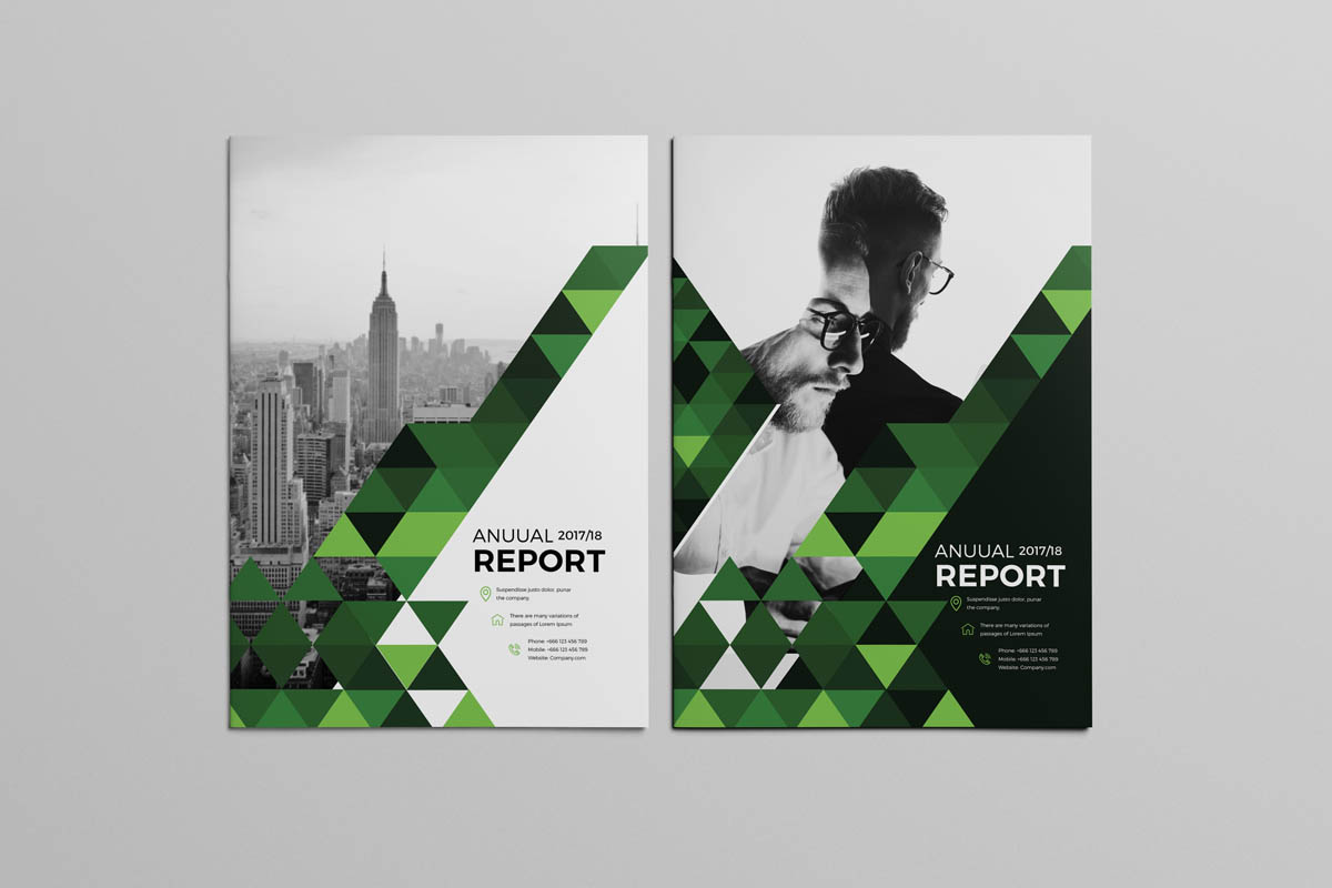 Green Grey and Black Shaded Triangle Design Brochure Template
