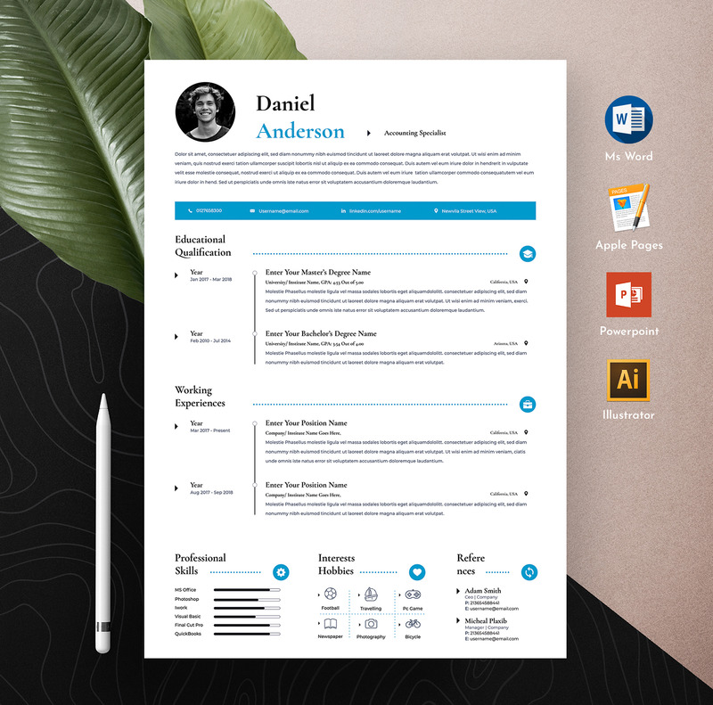 Creating a resume online with canva's free resume builder will give you a sleek and attractive resume, without the fuss. Free Clean Professional Editable Word Apple Pages Cv Resume Template