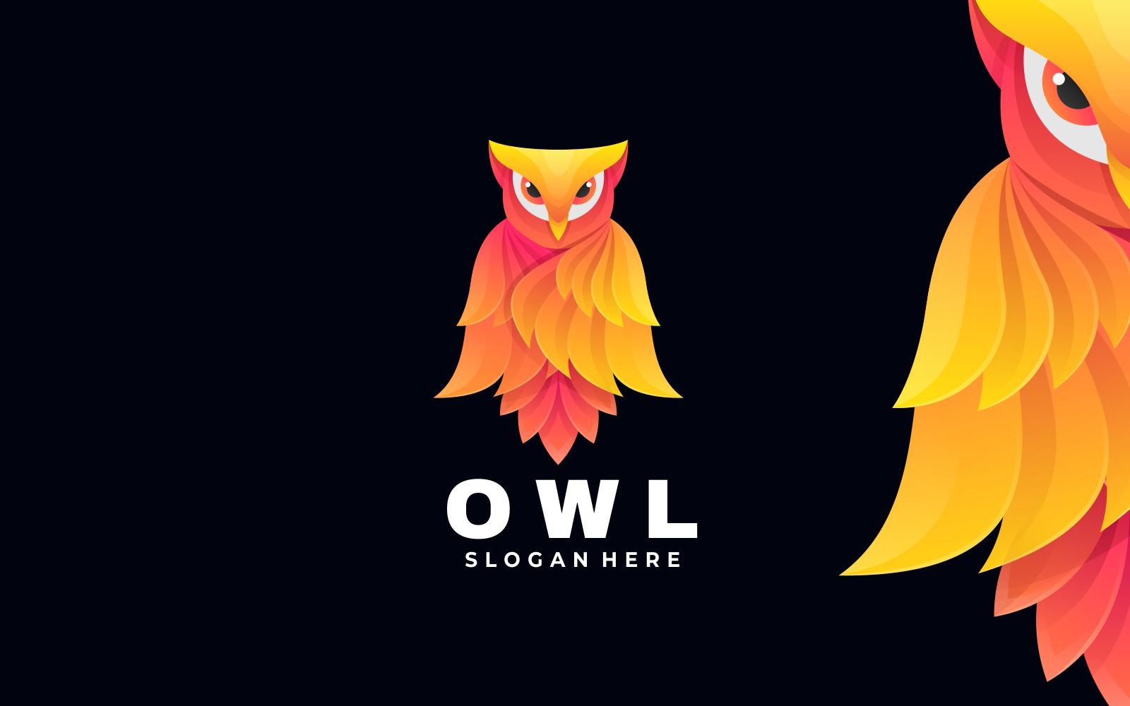 Owl Bird Gradient Logo Style - Shades of Orange