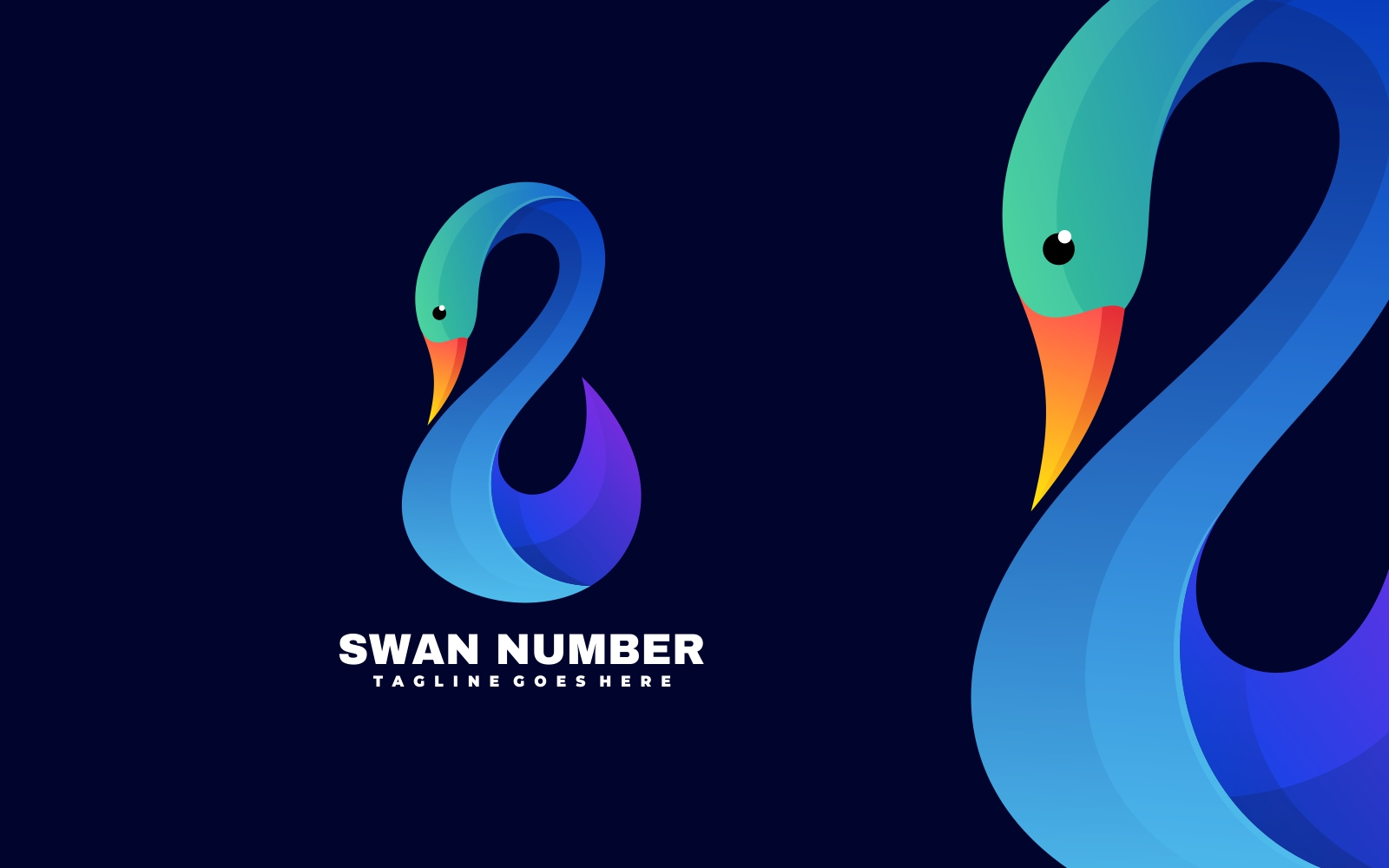 Elegant Blue Swan 3D Gradient Logo Template