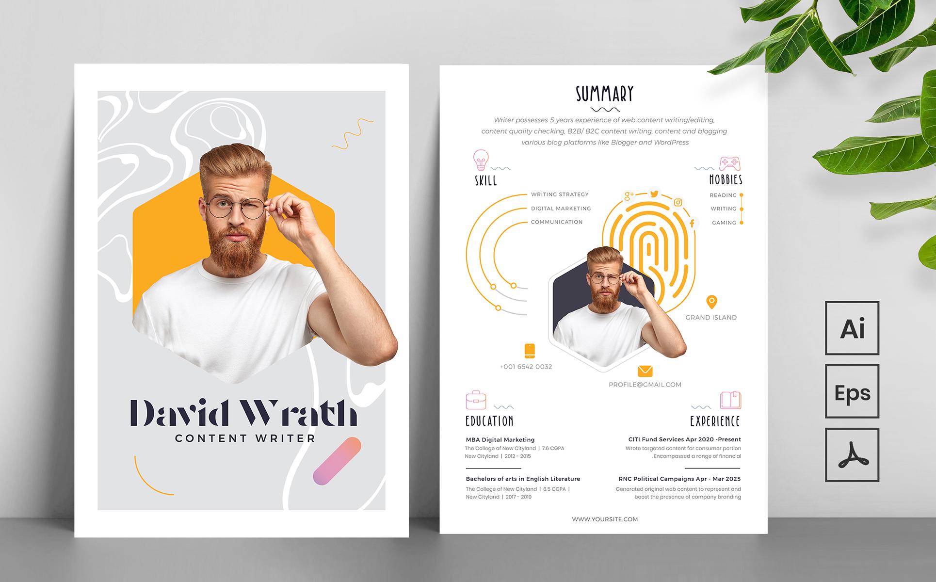 Creative and Modern Resume Template - Fingerprint Design