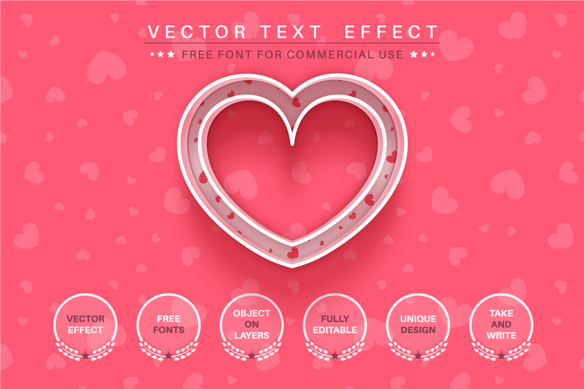 Heart Love - Editable Text Effect, Font Style, Graphics Style Illustration