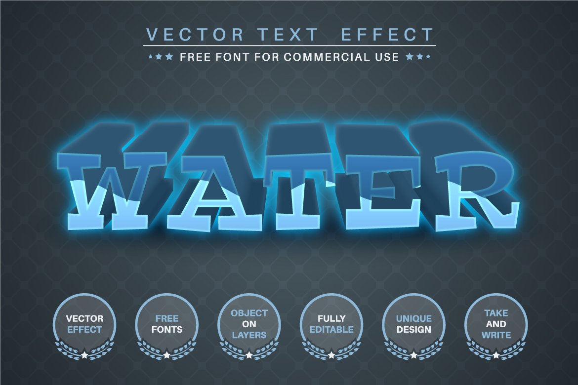 Water River - Editable Text Effect, Font Style, Graphics Illustration