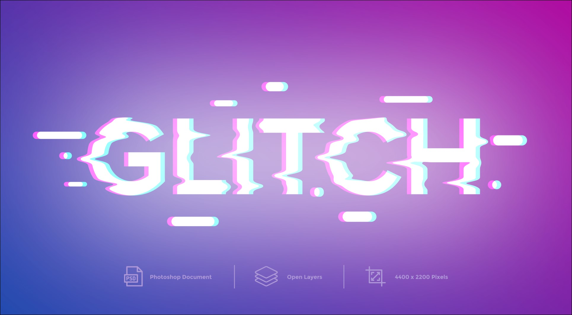 Glitch text effect And Layer Style
