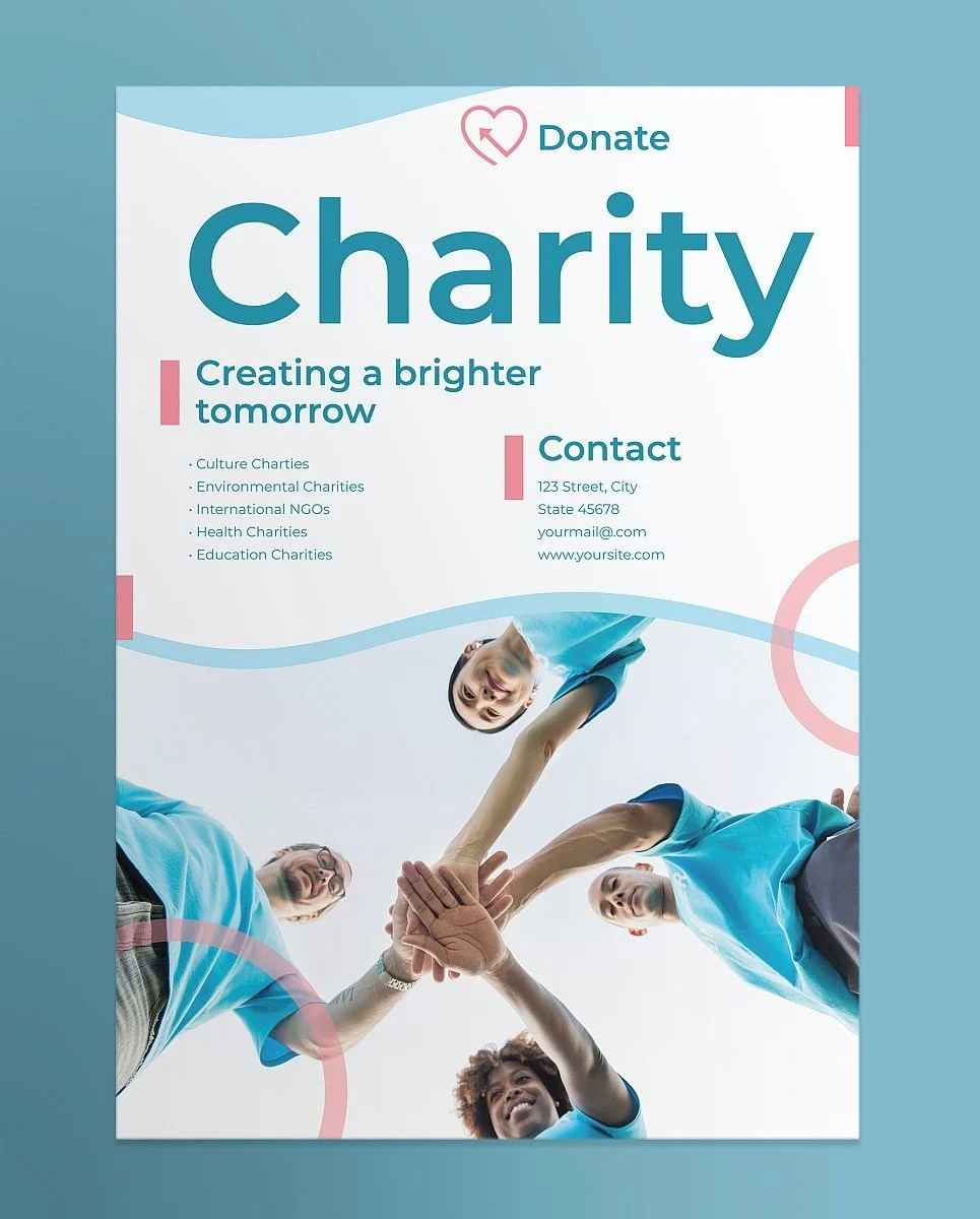 Multipurpose Charity Poster Template - Pink and Blue Theme