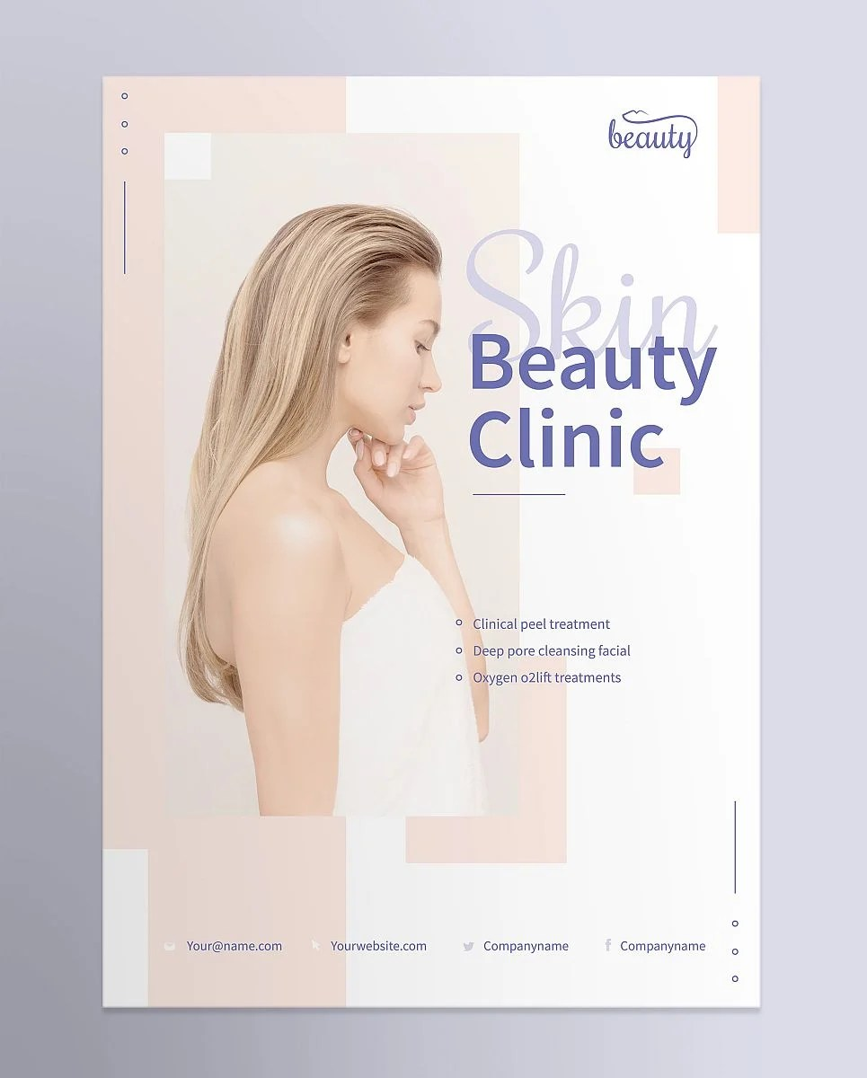 Professional Skin Beauty Clinic Poster Template - Pink and Purple Pastel Shades