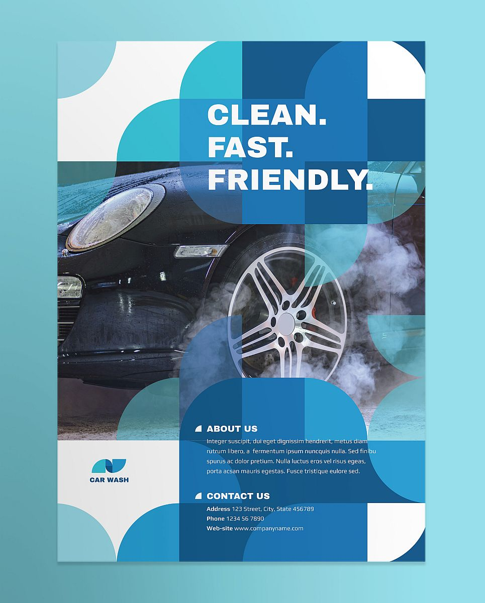 Creative Modern Blue Car Wash Poster Template