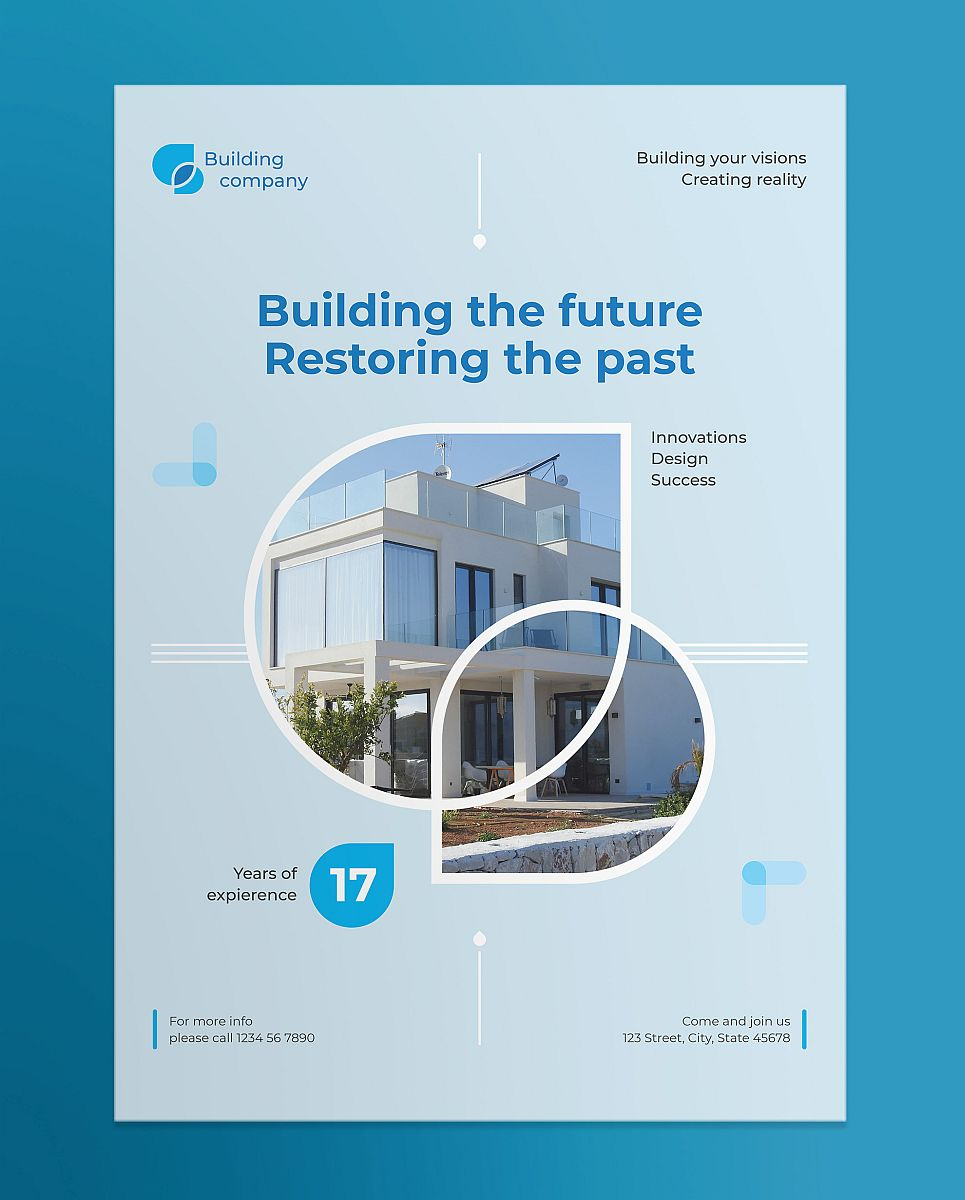 Professional Building Company Poster Template - Blue Theme