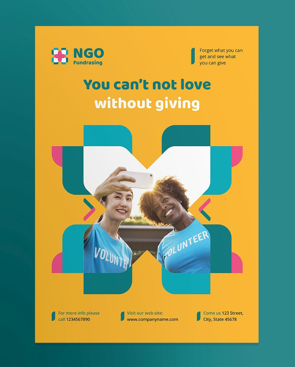 Multipurpose NGO Poster Yellow, Green and Pink Template - Modern Design