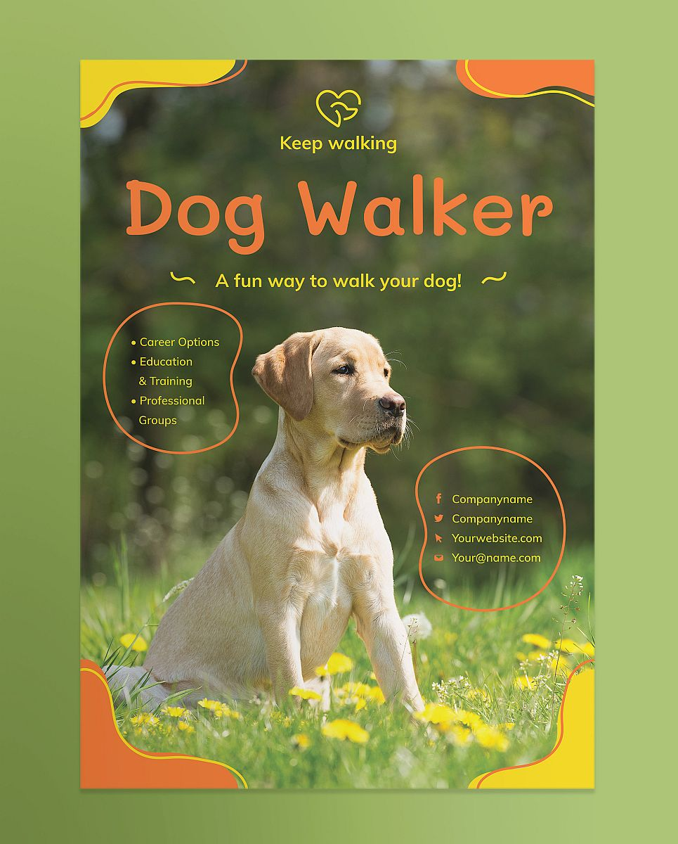 Ready-to-Use Dog Walker Poster Flyer Template