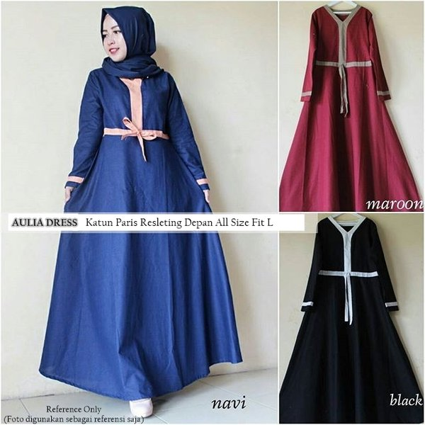 Baju Dress Muslim Alaia Gamis Maxi Syari Katun Paris Navy Black Maroon